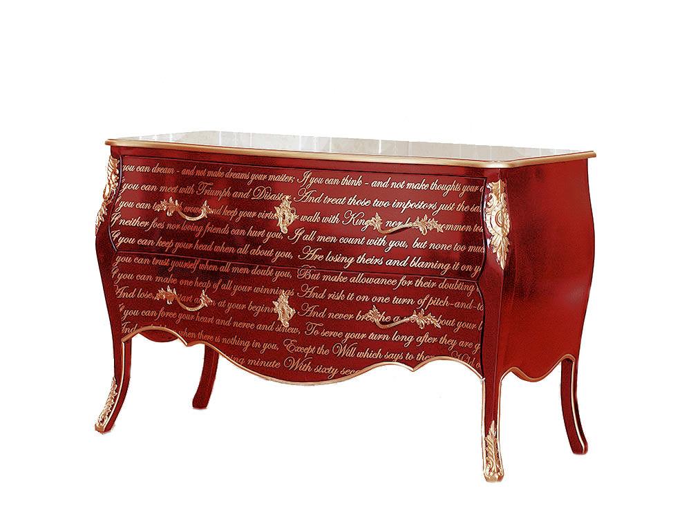 Červená barokní zámecká komoda Le désign