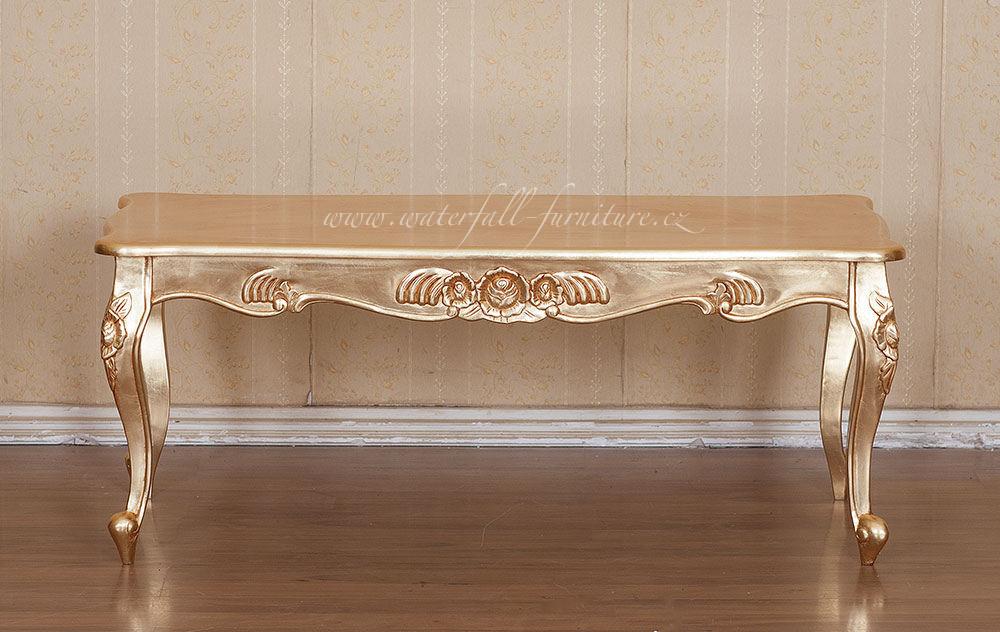 Zlatý retro konferenční stolek Gold Leaf