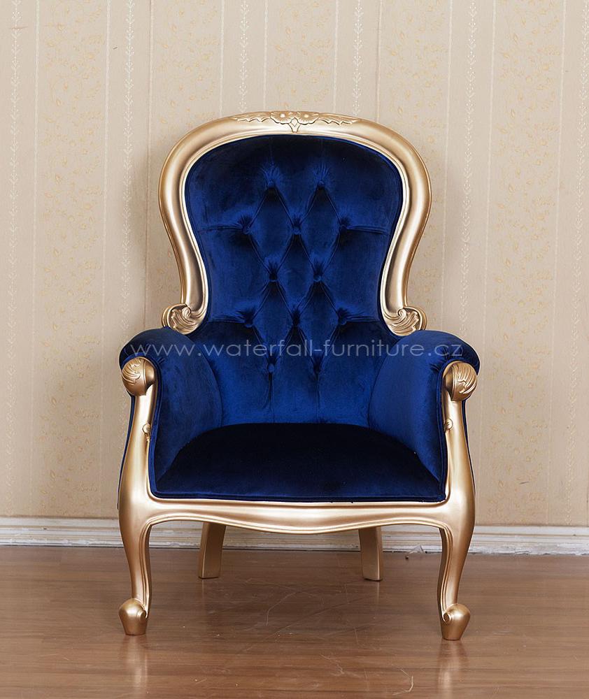 Zlaté retro křeslo, modrý samet