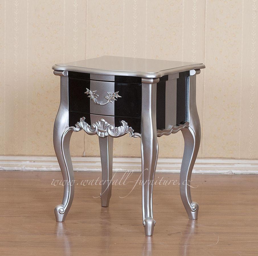 Černo-stříbrný retro noční stolek