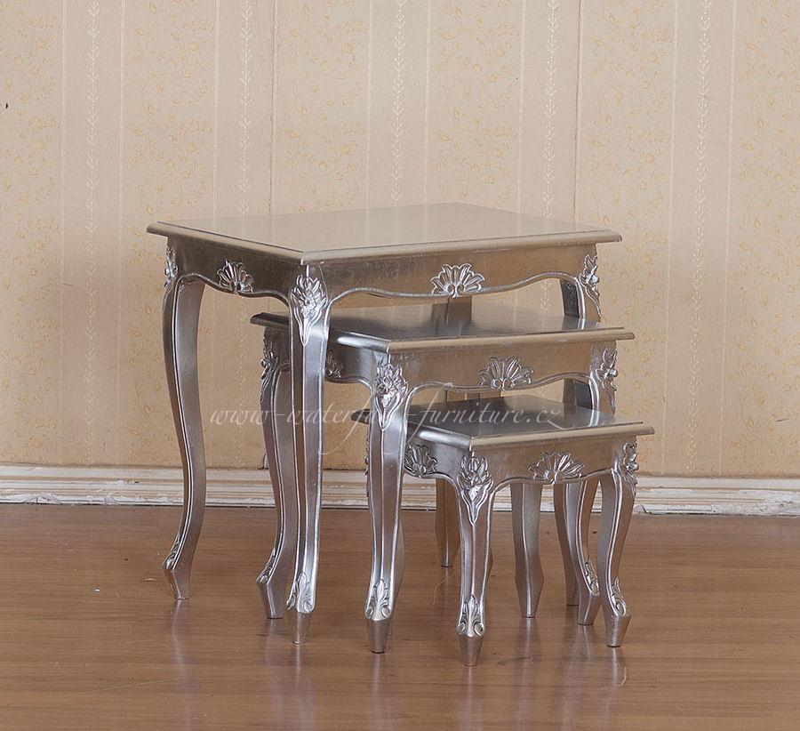 Stříbrné odkládací stolky Silver Leaf