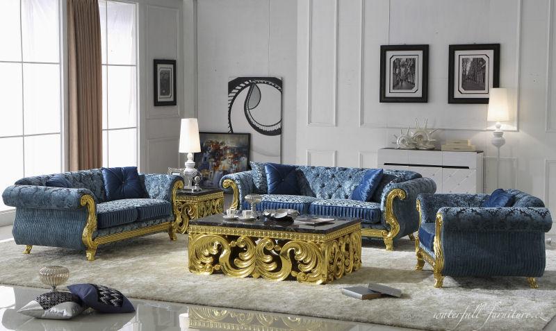 Luxusní sametová modrá sedací souprava
